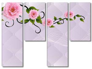 На светлом фоне  крупные розовые цветы