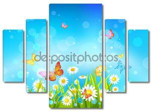 Солнечный день фон с цветами и бабочками