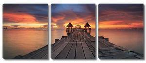 Пейзаж Wooded мост в тайский храм