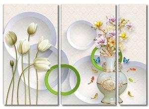 Белые тюльпаны на темно-зеленых стеблях, с вазой