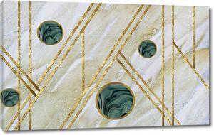 Светлый мраморный фон, золотые полосы, темно-зеленые мраморные круги
