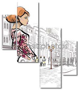 девочка моды на улице старого города