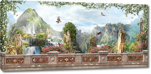 Вид на пейзаж с водопадами
