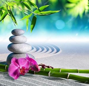 Орхидеи и бамбук на песке