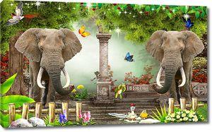 Слоны в сказочном лесу