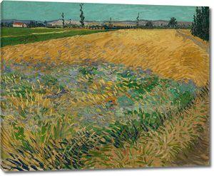 Ван Гог. Пшеничное поле и предгорье Старых Альп на заднем плане