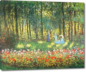 Моне Клод. Семья художника в саду, 1875