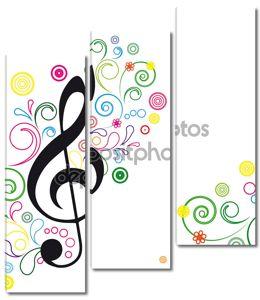 цветочный фон вектор музыки.