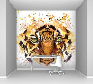 Тигр футболку графика, Тигр глазами иллюстрации с всплеск акварель текстурированный фон. Акварель Тигр иллюстрации для моды печати, плакат для текстильных изделий, Дизайн моды
