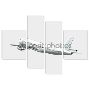 Самолет в небе - пассажирский самолет рейса сзади сбоку изолированные