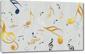 Разноцветные ноты и скрипичные ключи