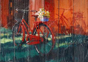Винтажный велосипед с ведром