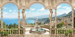 Терраса с фонтаном