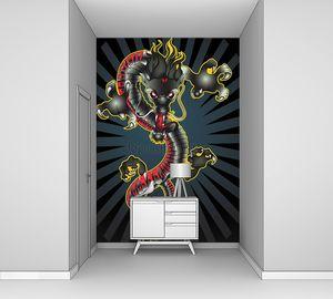 полный цвет азиатского дракона татуировки Иллюстрация вектора