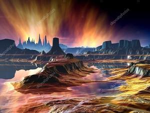 Огненный Аврора над далеком мире