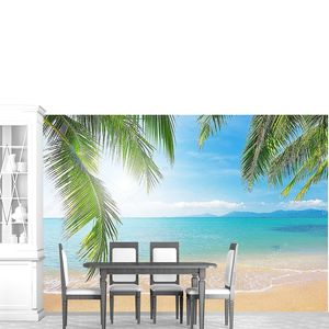 Пляж с кокосовой пальмы, море