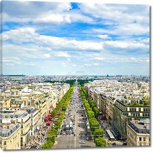 Париж, панорамный вид с воздуха Елисейских полей. Франция
