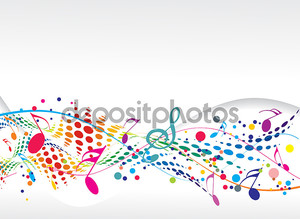 Музыкальные разноцветные ноты