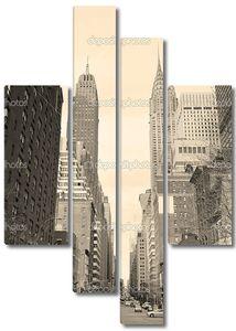 Города Нью-Йорка Манхэттен, уличные представления черный и белый
