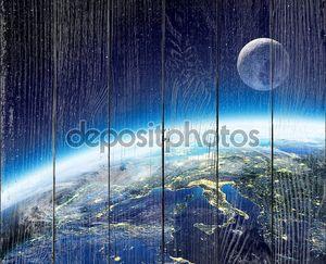 земля и лунное представление от пространства ночью - Европа