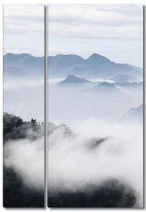 Горы с деревьями и туман в монохромный цвет