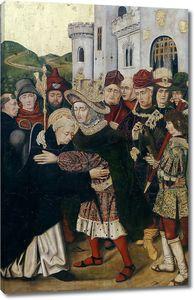 Бартоломе Бермехо и Мартин Бернат. Фердинанд I Кастильский обнимает св Доминика из Силоса