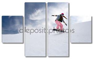 Девушка Райдер прыгать на сноуборд