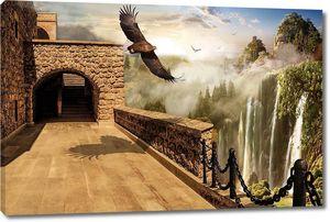 Терраса с видом на огромный водопад