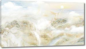 Облака и водопад на мраморной подложке