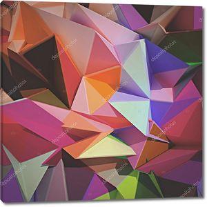 Абстрактный геометрический фрн из разноцветных треугольников