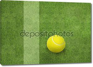Теннисный мяч рядом с суда линии.