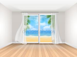 Пустая комната с видом на море и большие раздвижные окна