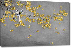 Желтая цветущая ветка с птицами
