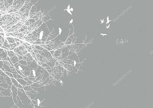 Белые контуры дерева и контуры летать и сидя птицы