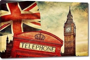 Красная телефонная будка, Биг Бен, флаг Юнион Джек