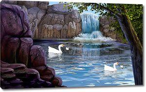 Гуси у водопада