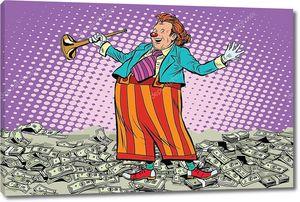 Бизнес-концепция денежного клоуна
