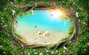 Лебеди в рамке из корней деревьев