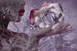 Абстракция девушка с цветком