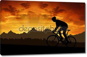 Велосипедист на закате
