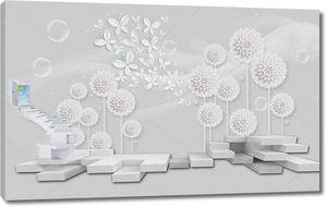 3d иллюстрация, серый фон, большие шаги, ведущие к цветной мир, белая бумага одуванчики, белая бумага бабочки, мыльные пузыри