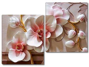 Объемные фаянсовые цветы