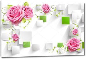 Белый и зеленый прямоугольники, розовые розы с каплями воды