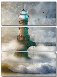 Пейзаж с маяком в океане