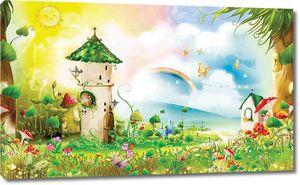 Домики на радужной полянке
