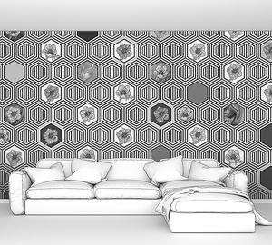 Geometrical fusion-черно-белый орнамент из сот