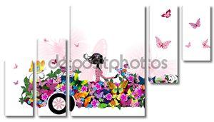 Женщина на автомобиле старинные цветок