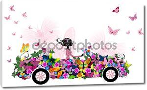 Девушка в цветочном автомобиле