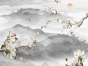 Расцветшие ветки на фоне холмов