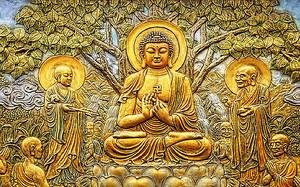Будда. Дерево милосердия. Эстамп в золоте